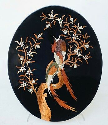 Vintage Black Lacquer Mother of Pearl Inlay Asian Wall Hanging Plaque