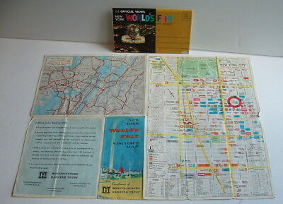 1964 /65 New York Worlds Fair Postcard Set And Visitors Map
