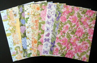WATER COLOUR FLORALS & WILD FLOWERS x 10 ~ A4 Scrapbooking/Cardmaking Papers