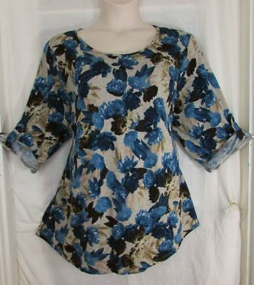 Tacera Romantic Vintage Floral & Leaves Grey Blues Browns SOFT Top 3X NWT