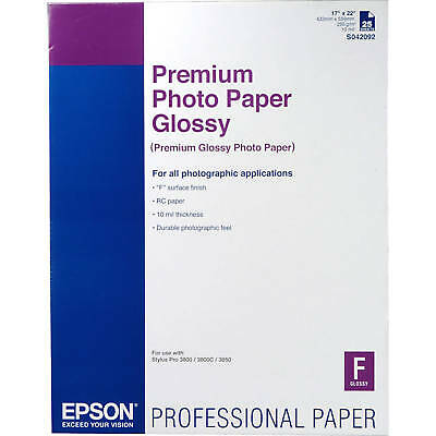 "Epson S042092 Premium Photo Paper Glossy (17 x 22"", 25 Sheets)"
