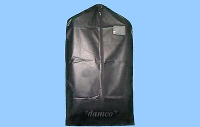 3 BLACK VINYL ZIPPERED SUIT GARMENT BAGS w CARD POCKET