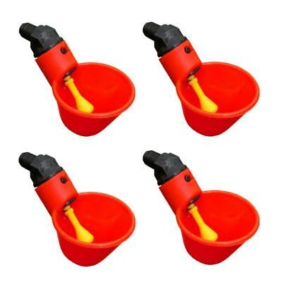 4 Pack Poultry Water Drinking Cups-Chicken Hen Plastic Automatic Drinker Red