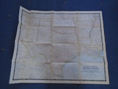 National Geographic map 1947 South Central United States of America USA 75x61 cm