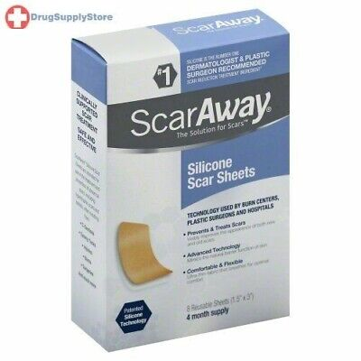 Scaraway 1.5 X 3 Reusable Washable Silicone Scar Sheets, 8 counts