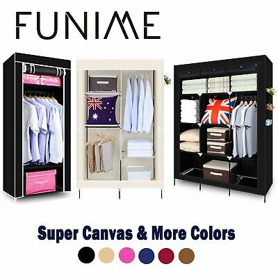 Multiple Single Double Triple Canvas Wardrobe With Hanging Rail Storage 4 Colors