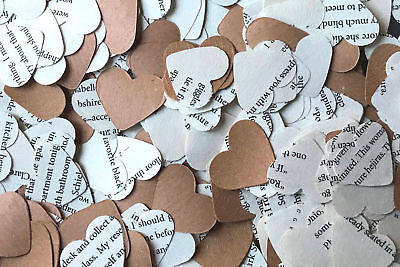Heart Wedding Table Confetti - Game of Thrones Book & Brown Kraft Paper/Rustic