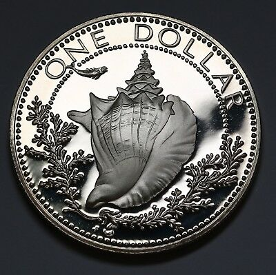 1974 Bahamas  Dollar  $1 Conch Shell Silver Proof Coin KM# 65a Ultra Cameo