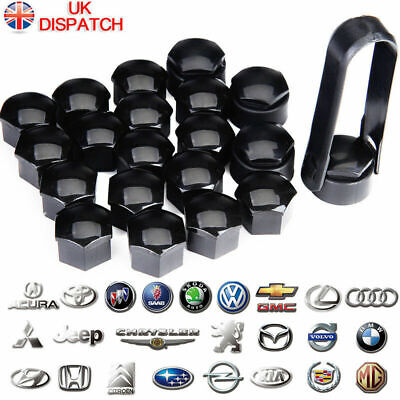17mm MATTE BLACK ALLOY WHEEL NUT BOLT COVERS CAPS UNIVERSAL SET FOR ANY CAR