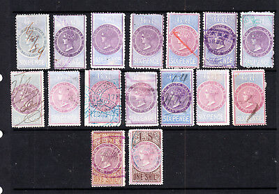 New South Wales Qv Long Type Duties X 13 To 1/- Used (K28)