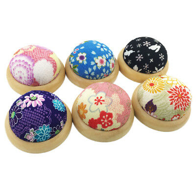 Home Flower Print Wooden Base Needle Pin Cushion Pillow Holder Sewing Craft Tool