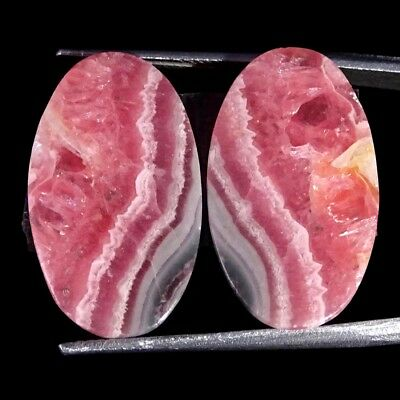 22.00Cts 100% Natural Pink Rhodochrosite Pair Oval Cabochon Loose Gemstone