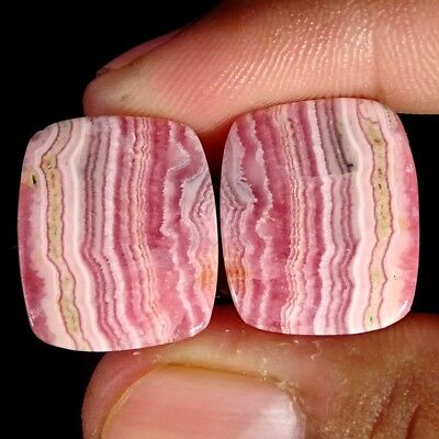 36.70Cts 100% Natural Pink Rhodochrosite Pair Cushion Cabochon Loose Gemstone