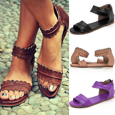 Summer Womens Flat Sandals Leather Zipper Open Toe Ankle Strap Beach Shoes Size