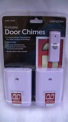 Uni-Com Wire-Free Twin Portable Door Chimes 8 Selectable Chimes Compact New