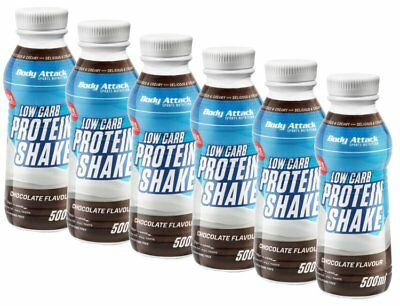 6 x Body Attack Low Carb Protein Shake je 500ml Chocolate  !! MHD 16/06/2018 !!