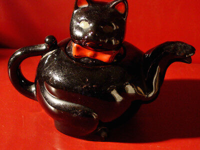 Vintage 1950s Black Cat tea pot Shefford Japan Red Clay Red-ware Halloween kitty