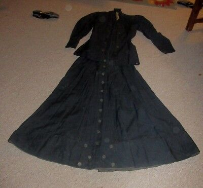 Antique Edwardian Womens  Black Two Two Piece Suit With Buttons On It