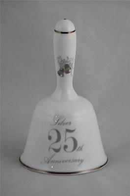 Porcelain Bell Lefton Exclusives Silver 25th Anniversary Doves Wedding Bells
