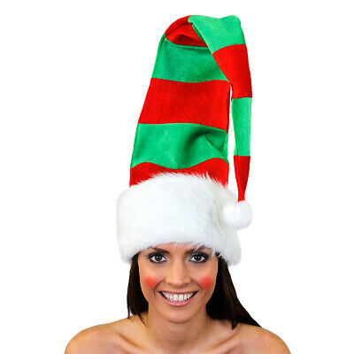 Adults Elf Red And Green Hat Santa Claus Helper Christmas Xmas Fancy Dress