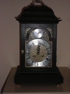 antique style bracket clock - simulated ebony 18th C reproduction.