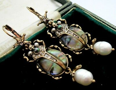 Beautiful Statement Earrings Art Deco Vintage Style Real Pearl Star Beetle Drop