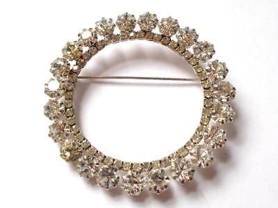 Vintage Art Deco Clear Faceted Glass Crystal Silver Tone Circle Hoop Brooch