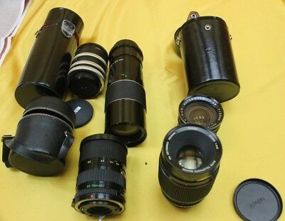 Job Lot 4 35mm Camera Lenses Plus Ext Tubes Various Fittings Untested ##ATH07JWG