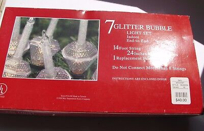 Christmas Lights - 7 Bubble Lights - Clear Glitter Bubble Set ( Price Reduced)