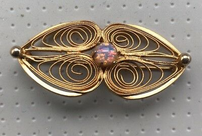 Beautiful authentic Vintage Gold Tone Pin Brooch Filigree  pink opal