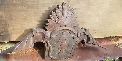 "Wooden fragment antique carved finial pediment 8 x 15"" 19th century"