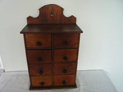 Primitive Antique Bank of Eight Drawers Kitchen Spice Office Bathroom Storage