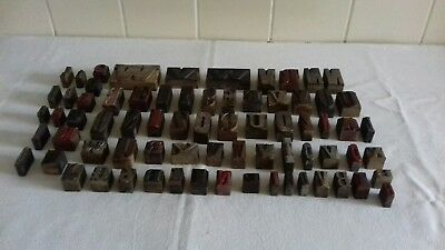 Job Lot Of 72 Mixed Vintage Wooden Letterpress Type Printing Blocks