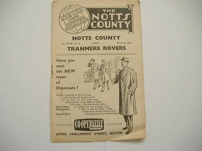 Notts County v Tranmere Rovers, FA Cup Round 3, ( 4/1/1958)
