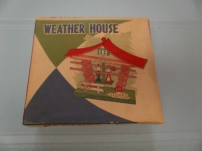 Vintage Japan Wooden House Weather House Man and Woman Tell Weather in Orig. Box