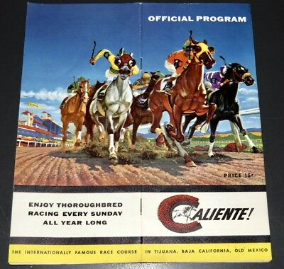 Handsome 1957 Caliente (Mexico) Horse Racing Brochure - Colorful Art Cover!