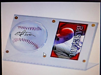 ULTRA PRO CLEAR ACRYLIC BASEBALL & CARD HOLDER DISPLAY NEW MLB Ball Case Stand