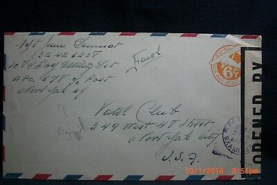 WW II Censored Envelope APO 678 (Egypt) to Yacht Club NYC