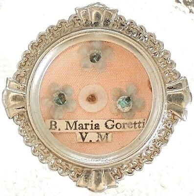 Antique First Class Reliquary Locket Saint Maria Goretti  Virgin & Martyr