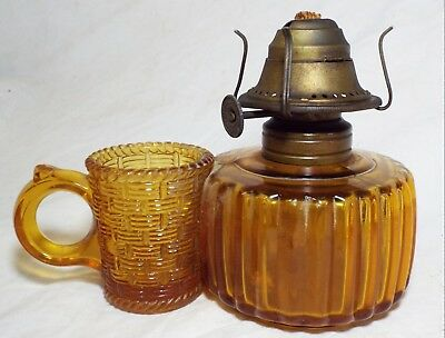 Old Antique Small AMBER Glass FINGER OIL LAMP W/ MATCH HOLDER