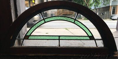 Antique 1920's Stained Leaded Glass Transom Arch Arched Window