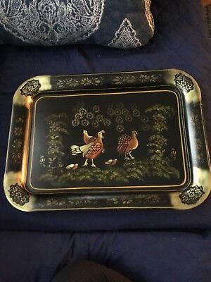 "18""X 13"" Vintage Toleware Tole Hand Painted Metal Tray Rare Design -Fall Turkeys"