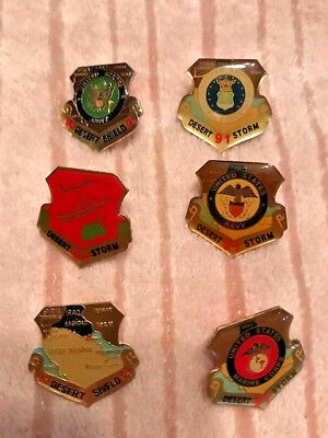 Six 1991 Desert Storm military pinbacks Marine Corp Air Force Army Navy +