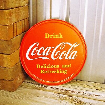 """Drink Coca-Cola Coke Bottle Red Delicious Refreshing Round 12"""" Metal Tin Sign"""