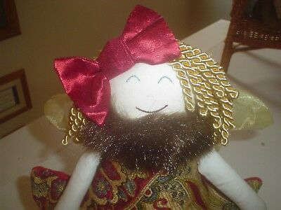 Woof & Poof Christmas Angel with Wings Tapestry Dress Fur Collar Curly Hair 2012