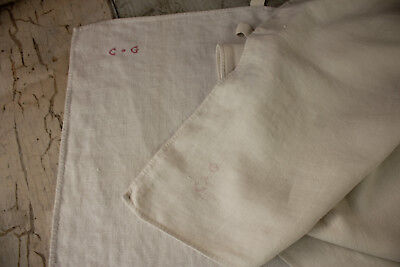 Pair of Antique white French linen towels hand/bath cloth 1800's CG monogram