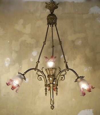French 4 Lights Antique Art Nouveau Chandelier Brass Bronze Old Lamp Art Deco