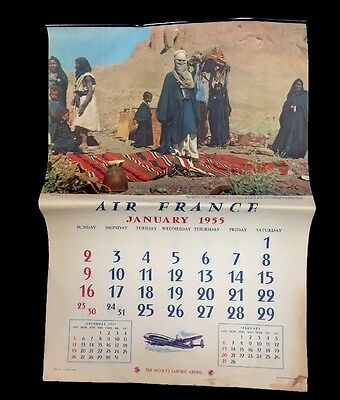 1955 Air France Airlines The World's Largest Airline Advertising Calendar Travel