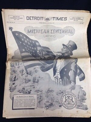 Detroit Times Newspaper Michigan Centennial Uncle Sam May 2, 1937 3 Sections