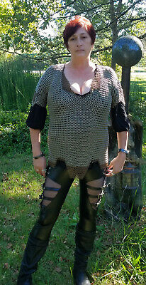 4 In 1 Butted steel Chainmail Chain Mail Shirt w/ Copper Accents Large Haubergon